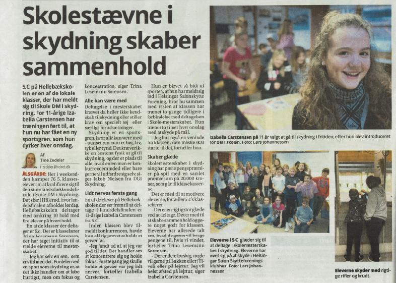 Udklip fra Helsingør Dagblad omkring Skole DM i skydning